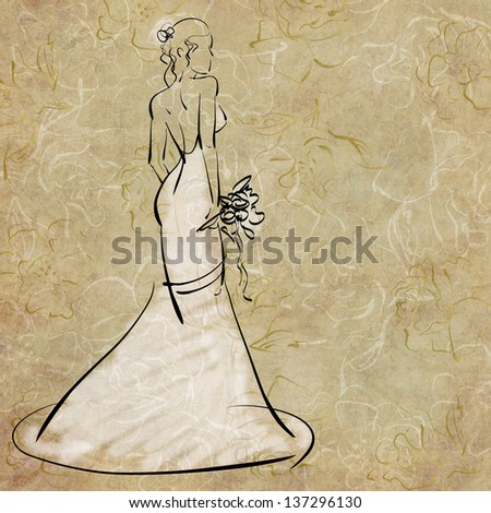 art sketching of beautiful young bride with the bride's bouquet and in white dress, on floral beige background - stock photo