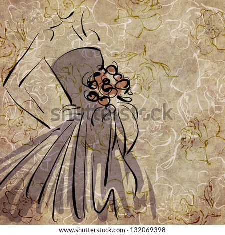 art sketching of beautiful young bride with the bride's bouquet on floral sepia background, with space for text - stock photo