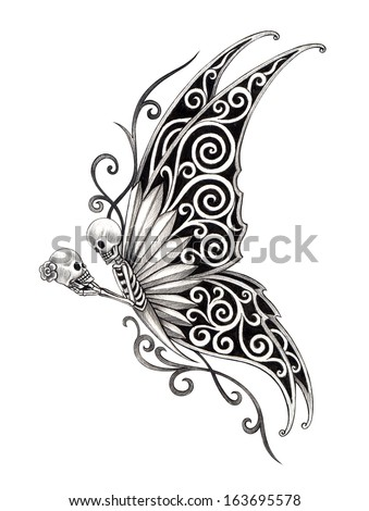 Art skull butterfly tattoo. Hand drawing on paper. - stock photo