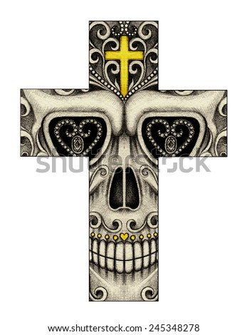 Art Skull Cross Day of the dead. Hand drawing on paper. - stock photo