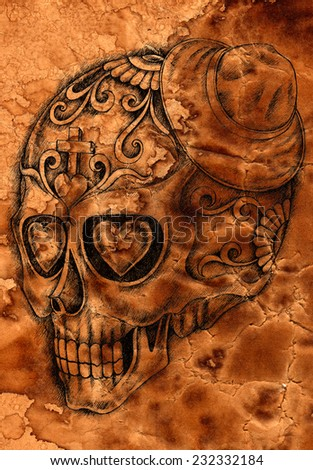 Art Skull Day of the dead. Hand drawing on old paper. - stock photo
