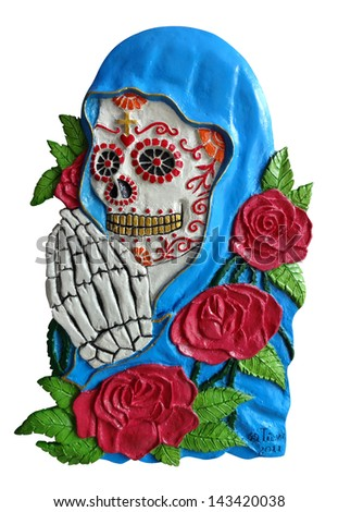 Art skull day of the dead. Handmade sculpture and acrylic color painting. - stock photo
