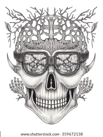 Art skull surreal.Hand pencil drawing on paper. - stock photo