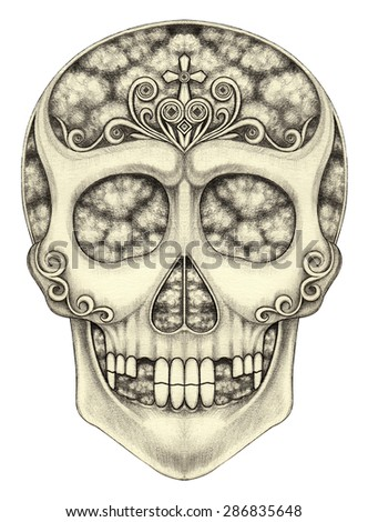 Art skull surreal mix day of the dead design.Hand pencil drawing on paper. - stock photo