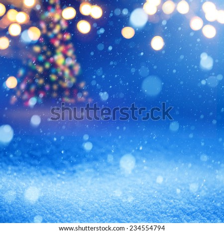 Art snow christmas magic lights background - stock photo