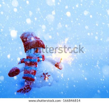 art Snowman Christmas card  - stock photo