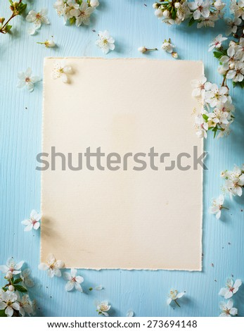 art Spring border background with spring flowers - stock photo