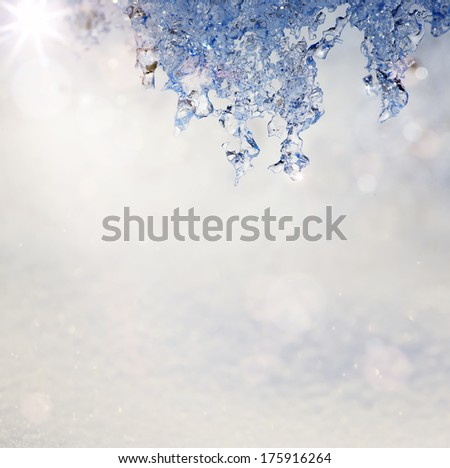 Art Spring Texture background in the form of melting snow with a blue tinted - stock photo