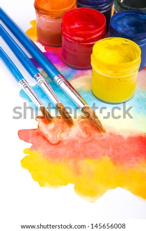 art studio paints, palette