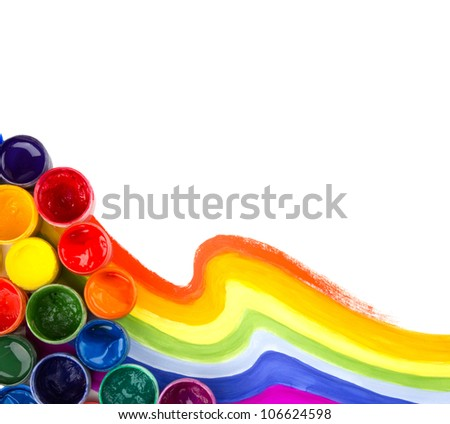 art studio paints, palette, rainbow - stock photo