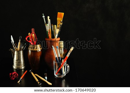 art studio still life - stock photo