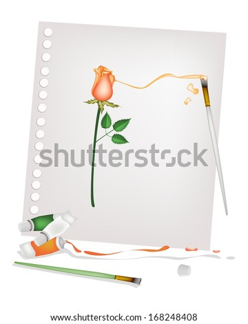 Art Supply, High Angel View of Craft Paintbrush or Artist Brush with Color Tubes Painting A Beautiful Red Rose on Spiral Paper.  - stock photo
