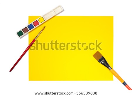 Art table top view. Isolated on white - stock photo
