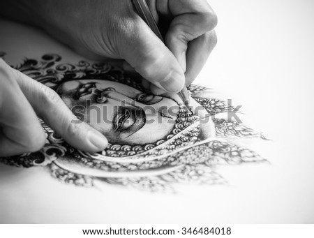 Art tattoo designs are hand drawn image of Buddha. As for the tattoo. Belief and faith in Buddhism. Drawing on white paper. - stock photo