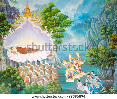 Art Thai, Buddha painting on wall in temple - stock photo