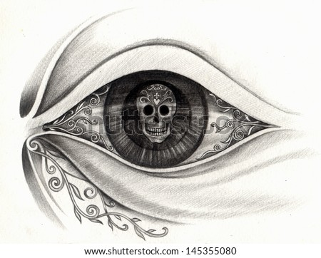 Art the eye skull day of the dead. Hand drawing on paper. - stock photo