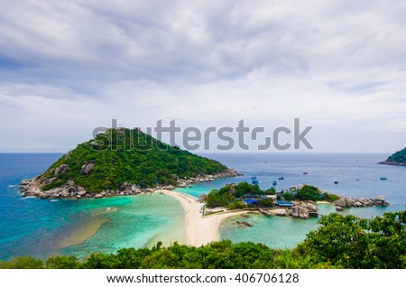 Art tone,Blurry View point from top of Tao Island in Thailand.background - stock photo