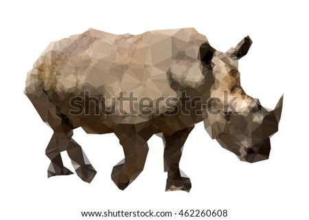 Art Triangles image of Rhinoceros (Ceratotherium simum) are walking.