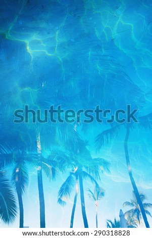 art Tropical beach blue water background - stock photo