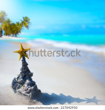 art tropical Christmas holiday - stock photo