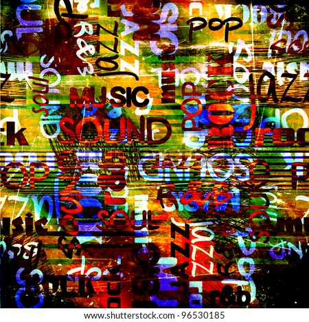 art urban graffiti raster bright and dark background with music name words - stock photo