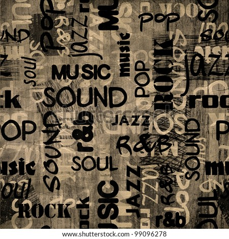 art urban music graffiti raster monochrome background in black, grey and white colors - stock photo