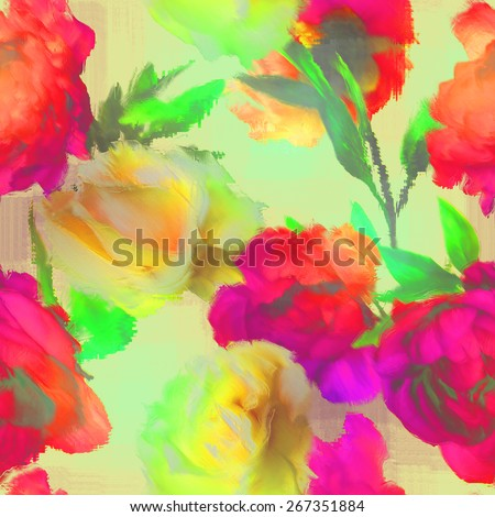art vintage blur acrylic floral seamless pattern with white gold roses  and red, orange and fuchsia peonies on light background - stock photo
