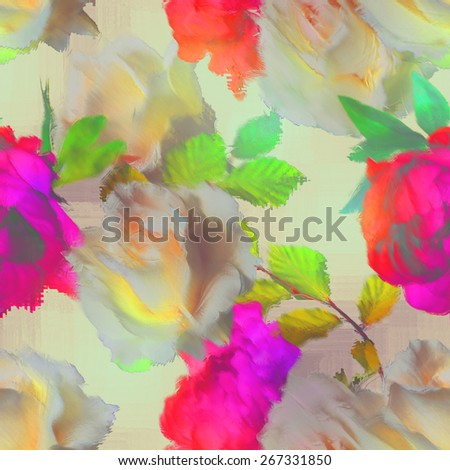 art vintage blur acrylic floral seamless pattern with white roses  and red fuchsia peonies on light background - stock photo