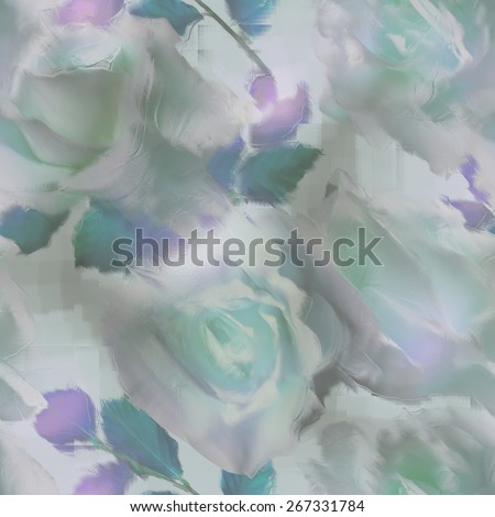 art vintage blur acrylic floral seamless pattern with white roses on light background in blue, green, white and grey colors - stock photo