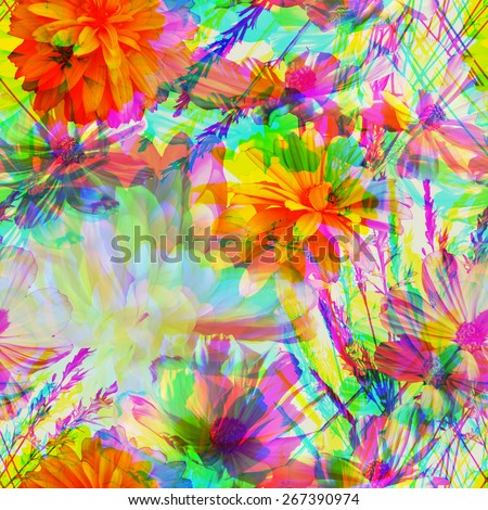 art vintage blur colorful graphic and watercolor floral seamless pattern with white peonies and gold orange and pink asters on light background; Double Exposure effect - stock photo