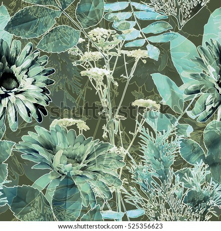 art vintage blurred monochrome blue green watercolor and graphic floral seamless pattern with gerbera, grasses and leaves on background. Double Exposure effect