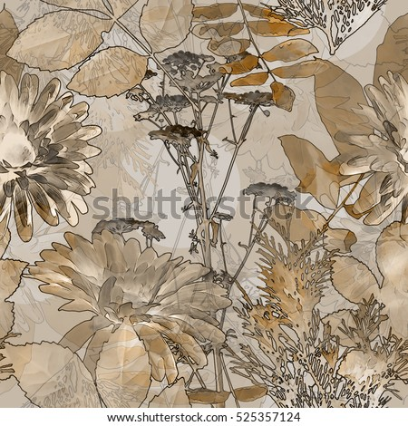 art vintage blurred monochrome brown and beige watercolor and graphic floral seamless pattern with gerbera, grasses and leaves on background. Double Exposure effect