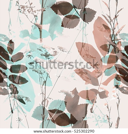 art vintage blurred monochrome brown and green watercolor and graphic floral seamless pattern with grasses and leaves on background. Double Exposure effect