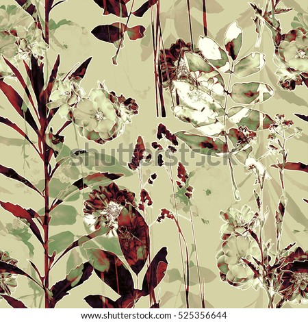 art vintage blurred monochrome brown and olive gold watercolor and graphic floral seamless pattern with roses, grasses and leaves on background. Double Exposure effect