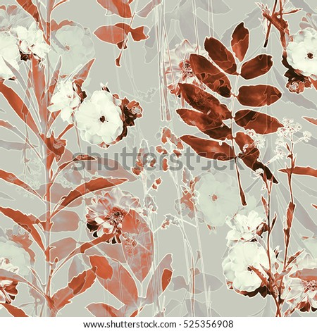 art vintage blurred monochrome brown watercolor and graphic floral seamless pattern with roses, grasses and leaves on gold grey background. Double Exposure effect
