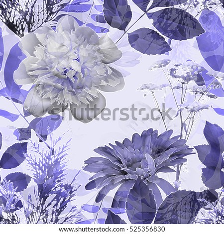 art vintage blurred monochrome lilac watercolor and graphic floral seamless pattern with peonies, gerbera, grasses and leaves on white background. Double Exposure effect