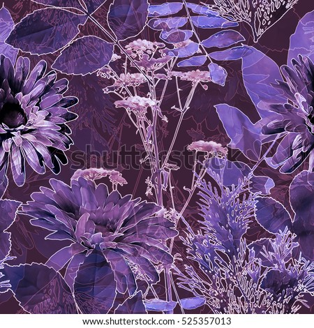 art vintage blurred monochrome violet watercolor and graphic floral seamless pattern with gerbera, grasses and leaves on dark background. Double Exposure effect