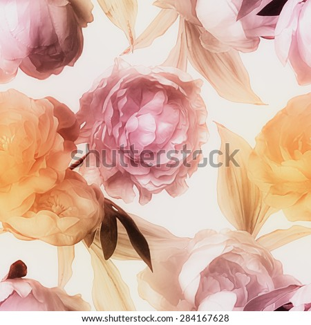 art vintage blurred watercolor floral seamless pattern with gold and pink red peonies isolated on white background - stock photo