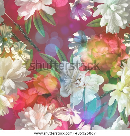 art vintage colored blurred floral seamless pattern with gold yellow, red and white roses, asters and peonies on dark purple background. Bokeh effect