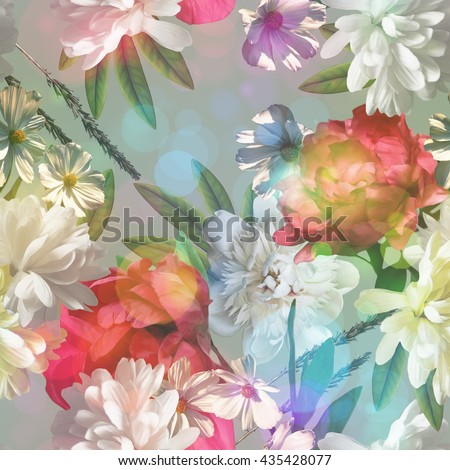 art vintage colored blurred floral seamless pattern with gold yellow, red and white roses, asters and peonies on light grey background. Bokeh effect