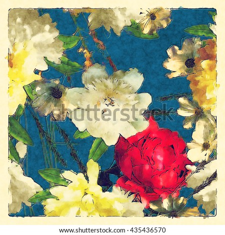 art vintage colored watercolor floral pattern with white and red peonies and roses, green grass and leaves on blue background in light frame - stock photo
