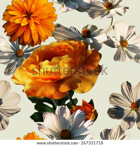 art vintage colorful graphic and watercolor floral seamless pattern with gold orange peonies and orange and white asters isolated on white background - stock photo