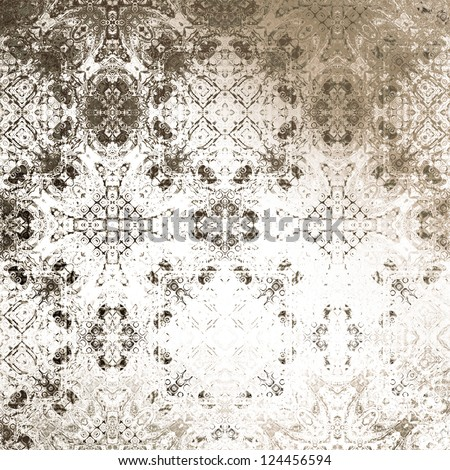 art vintage damask seamless pattern, monochrome silk background in brown and white colors - stock photo