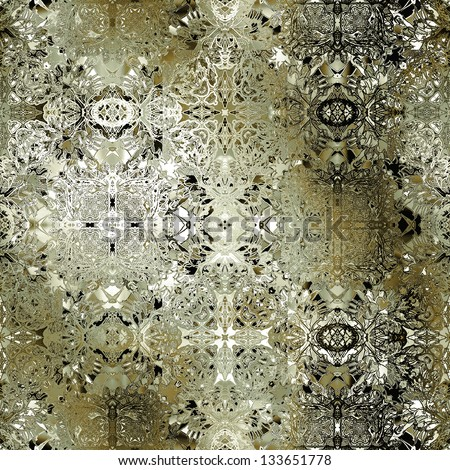 art vintage damask seamless pattern, old bronze background in white, green and black colors - stock photo