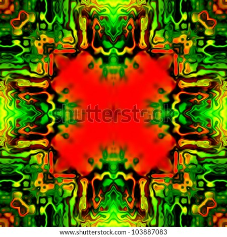 art vintage damask seamless pattern, red and green background