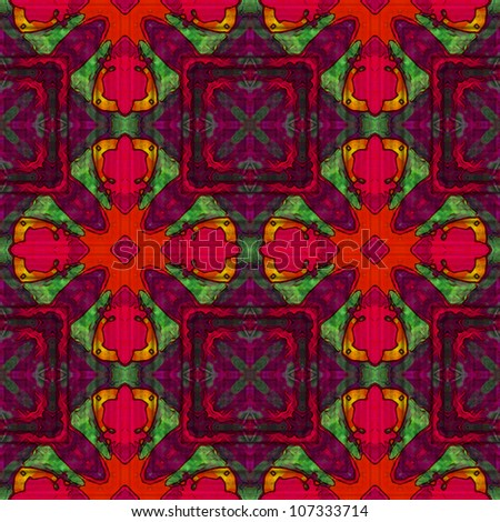 art vintage damask seamless tiled pattern background in bright red, purple, gold, carmine and green colors - stock photo