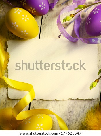 Art Vintage Easter greeting card with Easter eggs
