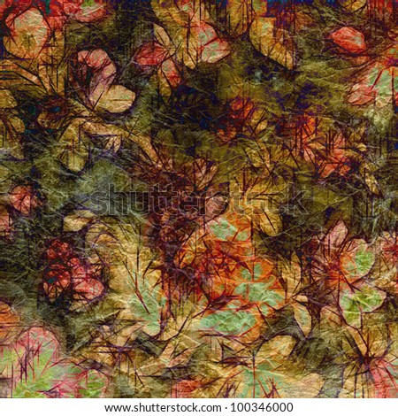 art vintage floral pattern, colorful graphic background in beige, pink, red, green and brown colors on old paper texture - stock photo