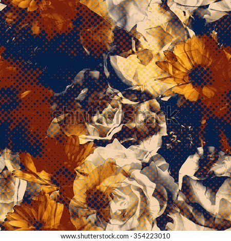 art vintage floral seamless pattern with blue, orange and white roses and asters on dark background; halftone effect