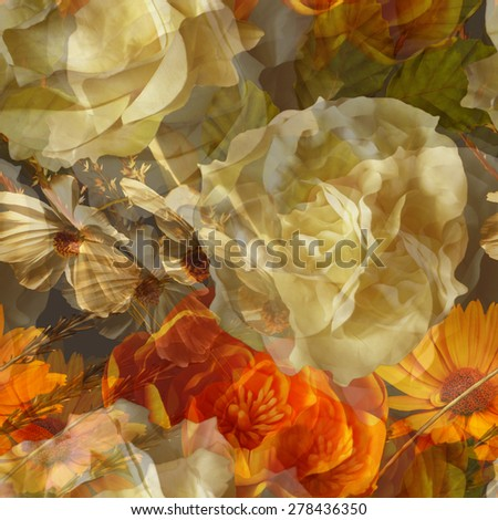 art vintage floral seamless pattern with gold orange and white roses, asters and peonies on dark green brown background. Double Exposure effect  - stock photo
